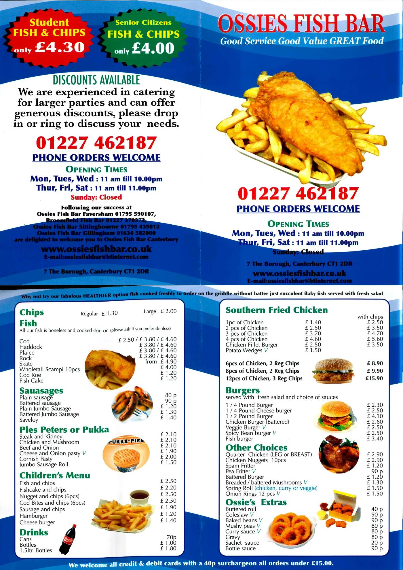 Canterbury takeaway menus for Loves fish box menu